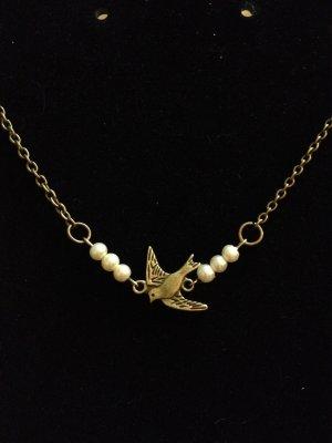 Necklace- Brass Chain , Antique brass bird w-  white pearls