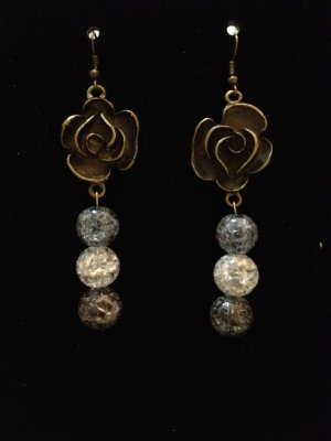 Earrings- Antique Brass Rose Finding with Multi-Colored Spheres