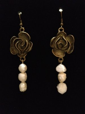 Earrings- Antique Brass Rose Finding with uneven pearls