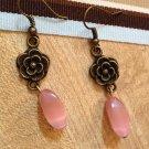 Earrings-  Brass hooks, brass flower findings with pink ovals