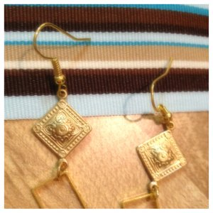 Earrings- Gold diamond-shaped finding with Gold Rectangle Frame Charm
