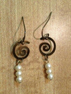 Earrings-Nickel-Free Brass hooks, brass Spiralswith white pearls