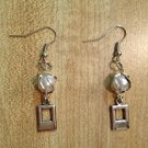 Earrings- Silver Wire-Wrapped Pearls with Double Rectangles