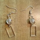 Earrings- Silver Wire-Wrapped Pearls w- Rectangular Frames