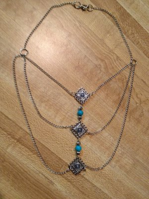 Bib Necklace- Silver and Turquoise Diamond Findings with layered chains Bib, Collar