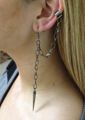 Ear Cuff- Gunmetal Cuff with looped chain to Piercing, Chain and spike
