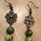 Earrings- Nickel-Free Antique Brass French hooks, Brass Vintage Flowers with Green glass beads