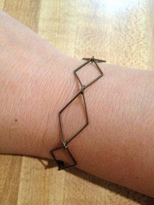 Unisex Bracelet- Geometric, Antique Brass Rhombus charms