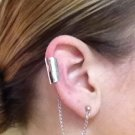 Ear Cuff- Silver Long Cuff with looped Silver chain to Stud Piercing