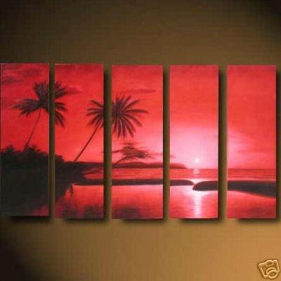 """Modern seascape OIL PAINTING """"ocean sunrise"""" 481"""