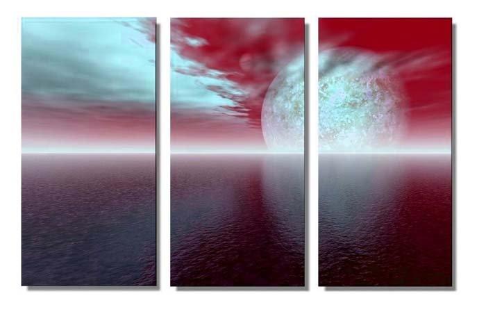 Modern seascape oil painting on Canvas big sun039