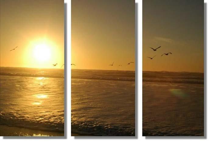 "Modern seascape oil painting on Canvas""The setting sun045"""
