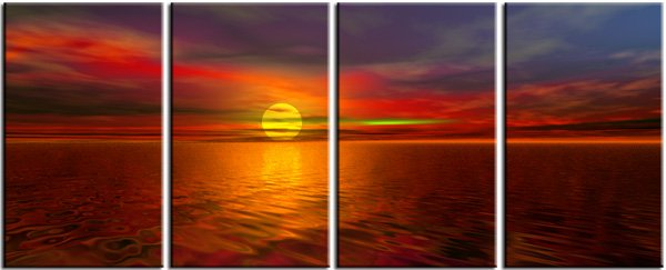 "Modern seascape oil painting on Canvas ""sunglow084"""
