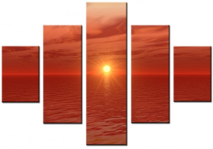 "Modern seascape oil painting on Canvas""sunglow072"""