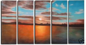 """Dafen Modern seascape oil painting on Canvas """"sunsetting242"""""""
