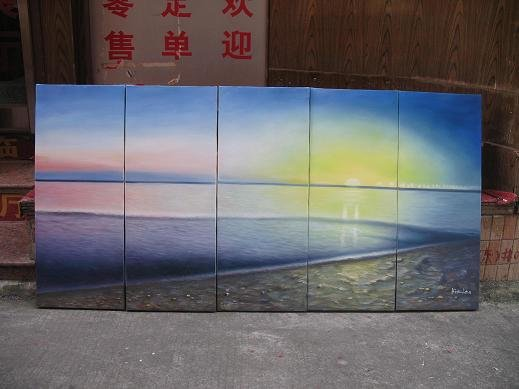 """Dafen Modern seascape oil painting on Canvas """"sunglow490"""""""