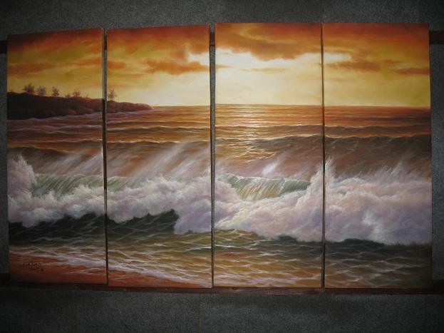 """Dafen Modern seascape oil painting on Canvas """"sunglow497"""""""