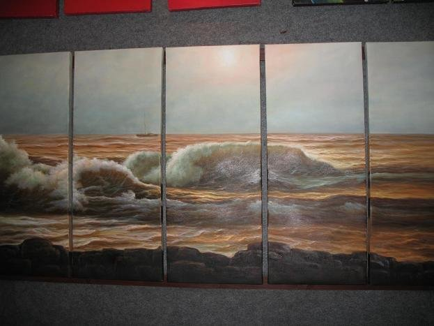 """Dafen Modern seascape oil painting on Canvas """"sunglow499"""""""