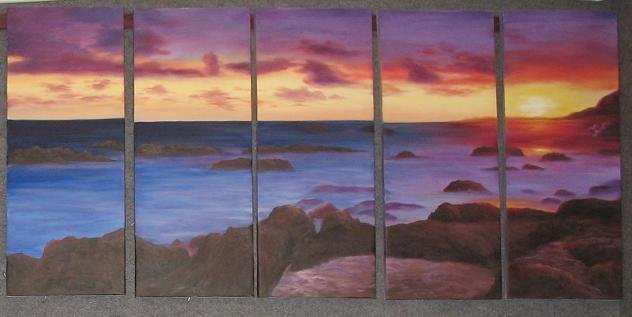 "Modern seascape oil painting on Canvas ""sunglow502"""