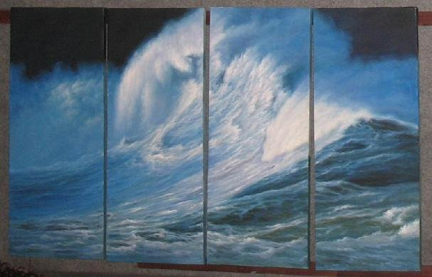 Dafen Modern seascape oil painting on Canvas  the strong ocean wave507