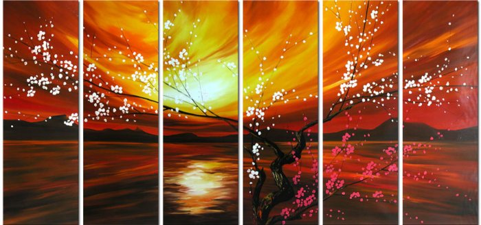 Modern oil painting on Canvas flower painting set342