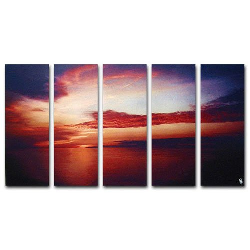 Modern oil painting on Canvas sunset glow painting set 261