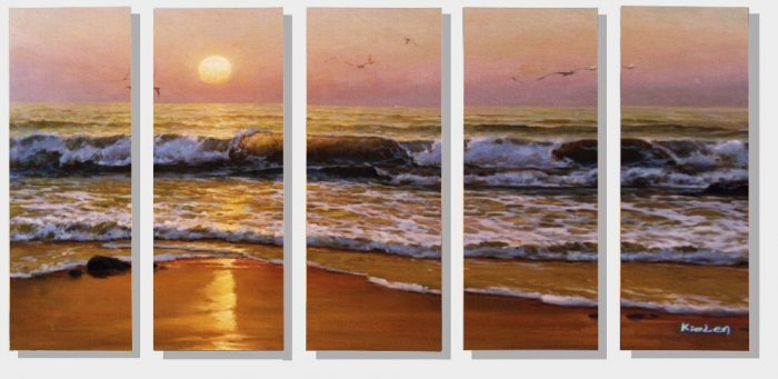 Modern oil painting on Canvas seascape painting set 289