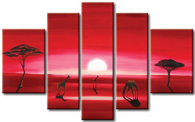 Modern oil painting on Canvas sunset glow painting set 361