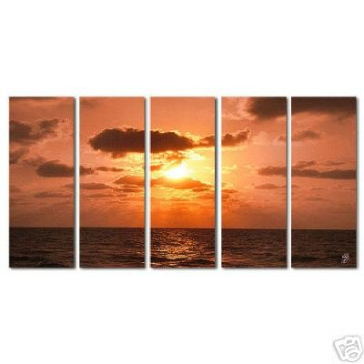 Modern oil painting on Canvas  sunset glow painting set369
