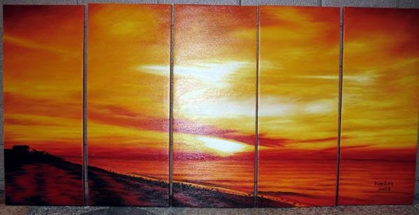 Modern oil painting on Canvas sunset glow painting set 448