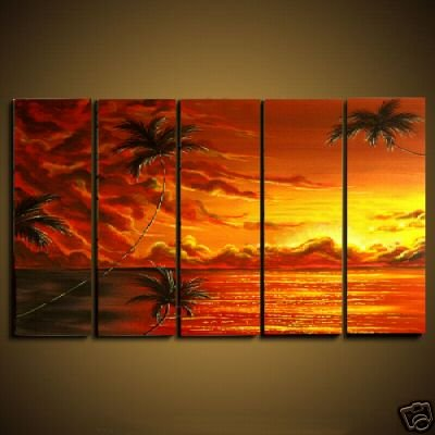 Modern oil painting on Canvas sunset glow painting set 461