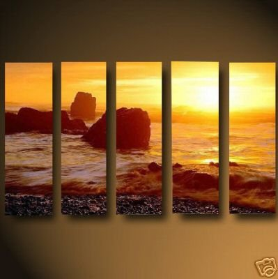 Modern oil painting on Canvas sunset glow painting set471