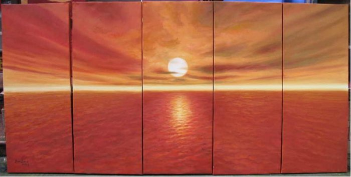 Modern oil painting on Canvas sunset glow painting set538
