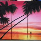 Modern oil painting on Canvas sunset glow painting set541
