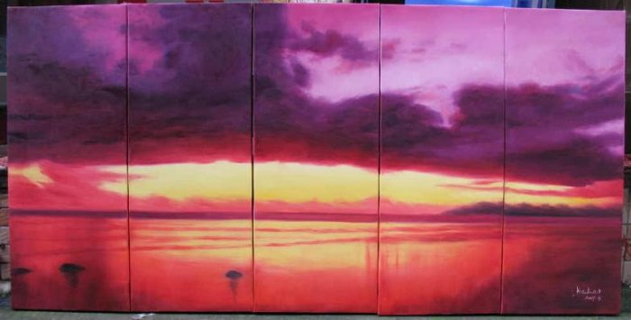 Modern oil painting on Canvas sunset glow painting set544