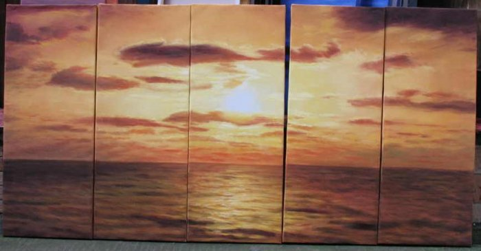 Modern oil painting on Canvas sunset glow painting set545