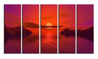 Modern oil painting on Canvas sunset glow painting set581