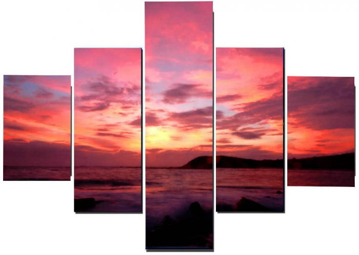 Modern oil painting on Canvas sunset glow painting set611