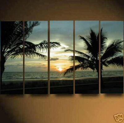 Modern Contemporary oil paintings on Canvas seascape painting set624