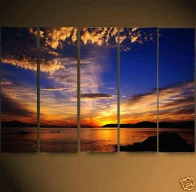 Modern Contemporary oil paintings on Canvas sunset glow painting set626