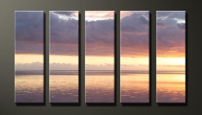 Modern Contemporary oil paintings on Canvas sunset glow painting set628