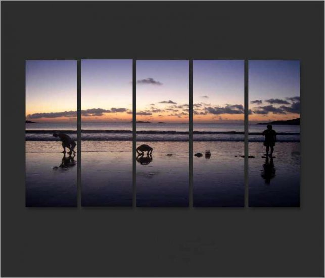 Modern Contemporary oil paintings on Canvas sunset glow painting set634