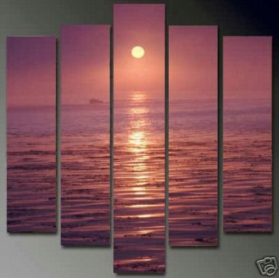 Modern Contemporary oil painting on Canvas sunset glow painting set 654