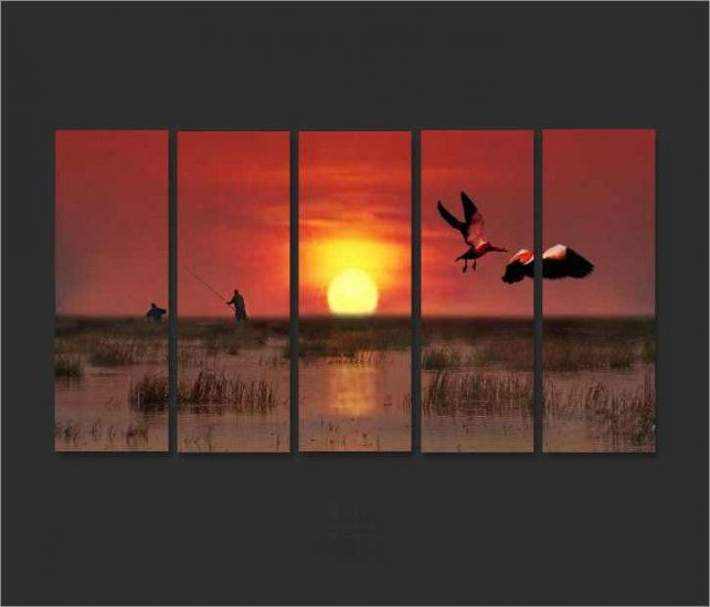 Modern Contemporary oil painting on Canvas sunset glow painting set 657