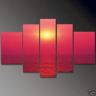 Modern Contemporary oil paintings on Canvas sunset glow painting set664