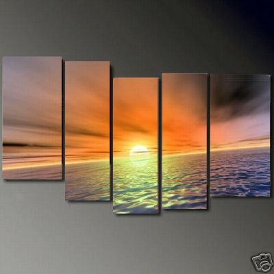 Modern Contemporary oil paintings on Canvas sunset glow painting set685