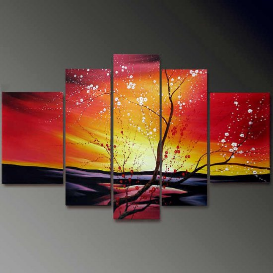 Modern Contemporary oil paintings on Canvas flower painting set697
