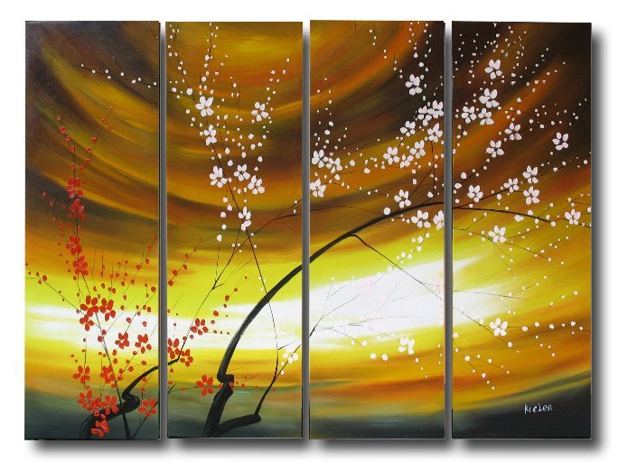 Modern Contemporary oil paintings on Canvas flower painting set 322