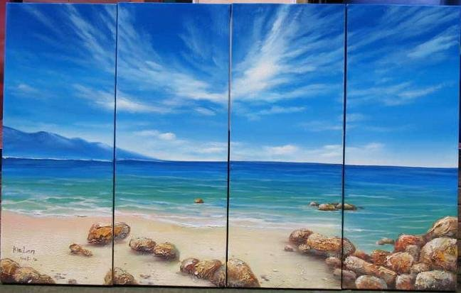 Modern Contemporary oil paintings on Canvas seascape painting set 537