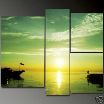 Modern Contemporary oil paintings on Canvas sunset glow painting set 651